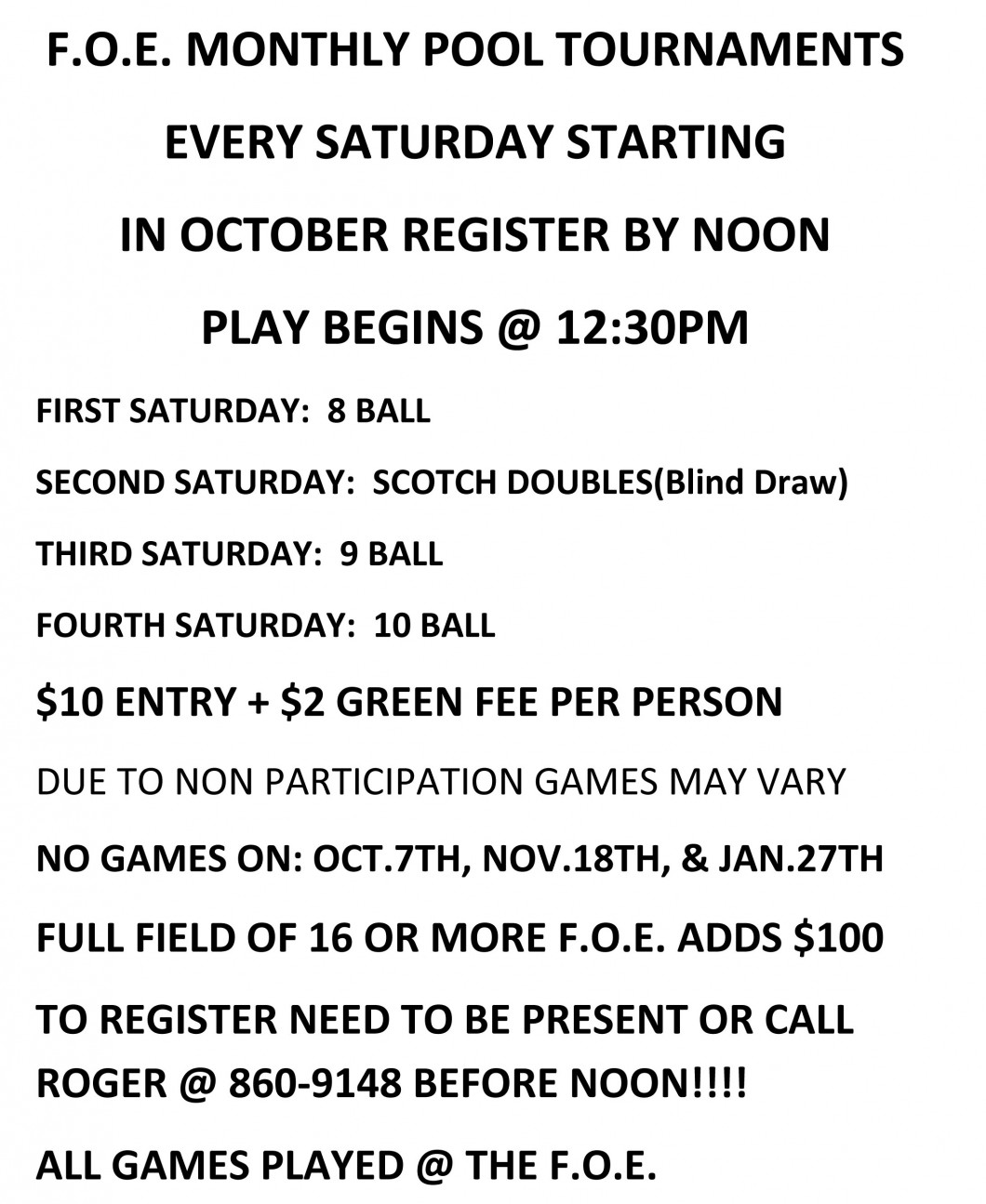 Monthly Pool Tournaments
